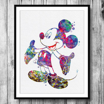 Instant Download Mickey Mouse Watercolor Art Digital Printable JPEG Wall Art For Kids Art Wall Decor