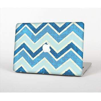 The Vibrant Blue Vintage Chevron V3 Skin Set for the Apple MacBook Air 13""