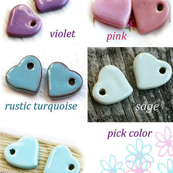 Lovely Heart Earrings - Pick Color - Heart Jewelry, Blue, Purple, Turquoise, Pink, Boho Jewelry, Patina Earrings, Hearts