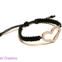 Rhinestone Heart Hemp Bracelet, Black Handmade Macrame Jewelry, Gifts for Her, Adjustable Size