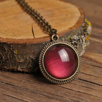 Tiny maroon necklace, antique brass necklace, glass dome pendant, antique brass pendant, glass dome necklace, maroon pendant, red necklace
