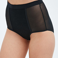 Mesh Panel High Waist Briefs in Black - Urban Outfitters