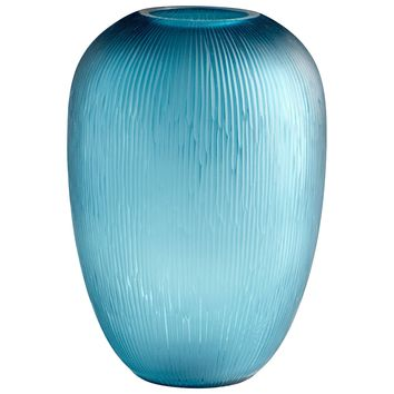 Small Reservoir Contemporary Teal Art Glass Vase by Cyan Design