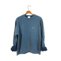 Faded Blue Nike Sweatshirt Washed Out Distressed Athletic Pullover Sweater Slouchy Cotton Faded Sports Sporty Prep Workout Top Size Medium