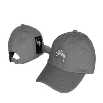 Gray Stussy Embroidered Baseball Cap Hat