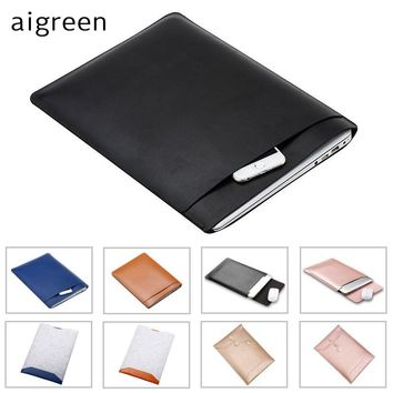 "2017 Brand aigreen PU Leather Sleeve Case For MacBook Air 11"",Air 13"",Retina 12"",13.3 inch,For Laptop Bag, Free Drop Shipping."