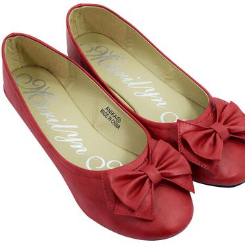Rockabilly Pinup Red Bow Round Toe Ballet Slip On Flat Shoes