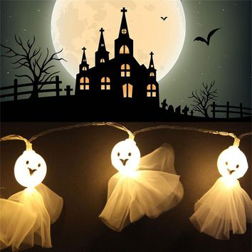 1.5m Halloween White Ghost 10 LED String Lights Hallowmas Glowing Hangings Cute String Lighting For Halloween Decoration