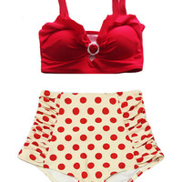 Red Top and Cream Red Polka dot dots Ruched High-waist High Waisted Waist Rise Bottom Bikini Swimsuit Swimwear Swim Bathing suit suits S M L