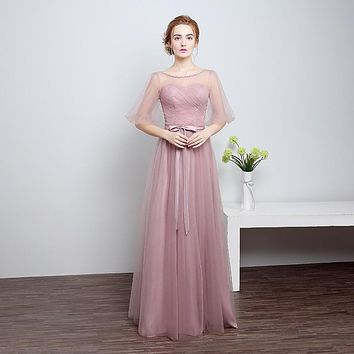 Free Shipping Purple Lace Ruched Tulle Half Sleeves Floor Length Bridesmaid Dresses Girls Party Gowns 2017 Summer LF801-1
