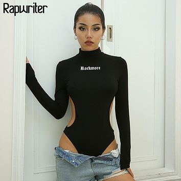 Rapwriter Sexy Side Hollow Out Waist Turtleneck Black Cotton Bodysuits Women 2018 Fall Winter Long Sleeve Stretch Sheer Bodysuit