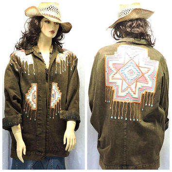 Boho denim jacket / XL plus size 16 / 18 / 80s wearable art / acid washed Santa Fe denim coat / southwestern jean coat / SunnyBohoVintage