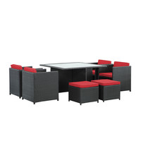 Inverse Outdoor Wicker Patio 9 Piece Set in Espresso Red