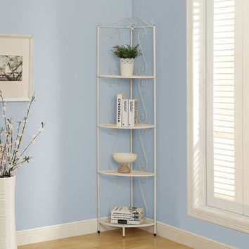 "Bookcase - 70""H - White Hammered Metal Corner Etagere"