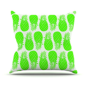 "Anchobee ""Pinya Neon Green"" Lime Pattern Outdoor Throw Pillow"