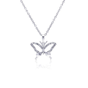 .925 Sterling Silver Open Butterfly Necklace