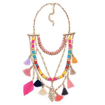 TEENA - Boho Beaded Layered Tassel Chain
