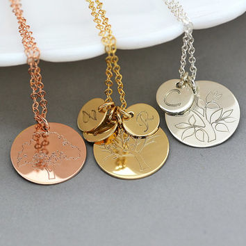 Tree of Life Necklace, Initial Tree Necklace, Gift for Mother, Family Tree Necklace, Grandmother Necklace, Gold, Silver, Rose Gold