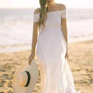 Lucille White Smocked Off the Shoulder Maxi Dress