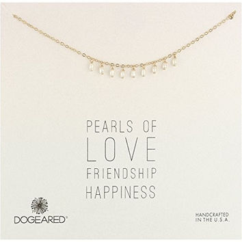 """Dogeared Pearls of Pearl Droplets Gold Necklace, 16""""+2"""" Extender"""
