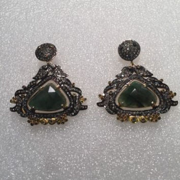 Vintage Genuine Diamond Real Green Nephrite Chandelier 925 Earrings