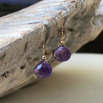 Amethyst Earrings, Amethyst Tear Drop Earrings, Gold or Silver Amethyst Tear Drop Earrings, Amethyst Tear Drop, Amethyst Drop, Amethyst