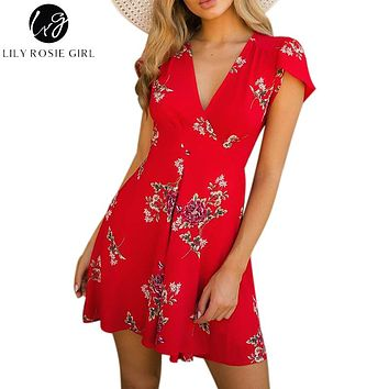 Lily Rosie Girl Red Floral Print Deep V Neck Mini Dress Women Boho Summer Beach Sexy Party Short Warp White Dresses Vestidos