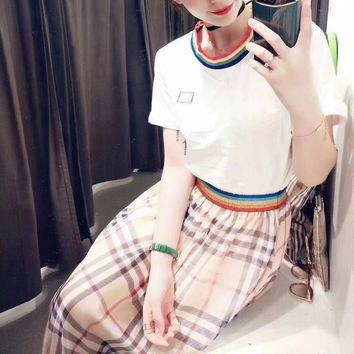 """Burberry"" Women Temperament Fashion Multicolor Stripe Short Sleeve T-shirt Rainbow Stripe Tartan Long Skirt Set Two-Piece"