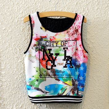 Sexy Bralette Stylish Hot Beach Comfortable Summer Flowers Alphabet Print Slim High Rise Vest [6267556038]