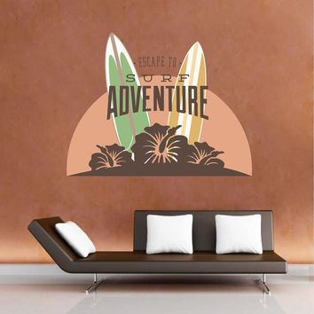 cik1509 Full Color Wall decal board surfing hawaii flower living room bedroom sports shop