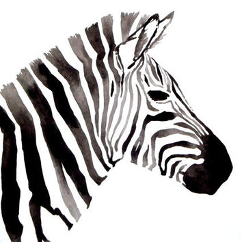 Zebra  Original Watercolor by GeometricInk on Etsy