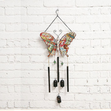 Butterfly Wood Wind Chime Suncatcher Flower Wings with Copper Bells for Mom Gifts Home Outdoor Decoration