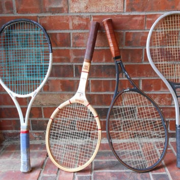 Vintage Tennis Racquets, Set of Four,  2 Wilson,  1 Spalding,  1Prince, Home Decor, Office Decor