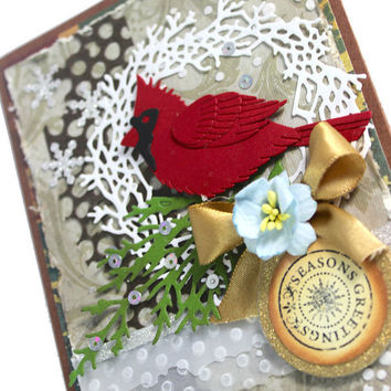 Christmas Handmade Card, Cardinal, Seasons Greetings, Snow, Winter Wonderland