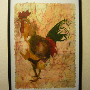 Rooster painting folk art kitchen art watercolor batik painting on rice paper 24x18 oversized vintage- like distressed  McKinzie