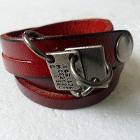 fashion Adjustable  real leather  and metal  by braceletbanglecase