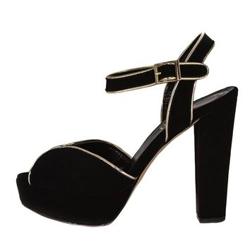 Resh Black Suede and Gold platform sandals