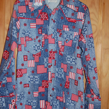 Vintage 60s 70s Lee Jeans Country Western Patriotic Patchwork Long Sleeve Snap Front Extra Long Tails Western Shirt Size M/L