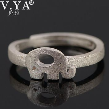 V.YA Super Cute Animal Women Rings Real 925 Silver Resizable Elephant Pattern Ring Jewelry