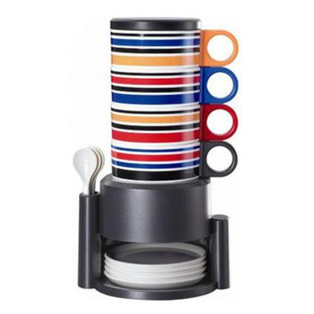 4pcs/set Rainbow Sets Cups Creative Coffee Cups Home Cups Plastic Cups with Lips and Spoons