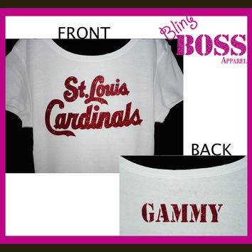 Cardinals Personalized Shirt Baseball Bling Glitter Ladies Grandma Gammy Custom Made Sparkle Team Glitter Custom Colors  Team Personalized