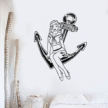 Vinyl Wall Decal Pin Up Sexy Girl Pretty Anchor Marine Style Beauty Stickers Unique Gift (763ig)