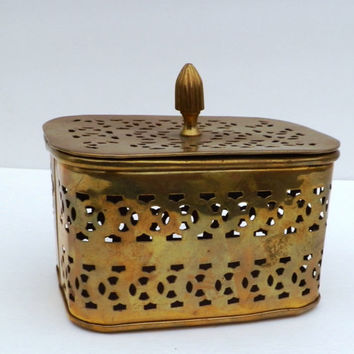 Brass Cricket Box with Lid, made in India