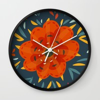 Decorative Whimsical Orange Flower Wall Clock by Boriana Giormova | Society6