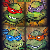 TMNT-Gruppe Print, Teenage Mutant Ninja Turtles Comic Artwork, signiert und nummeriert 11 x 14 Print von David Lizanetz