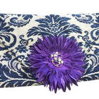 Rock N Couture Navy Damask Clutch EnvelopeOpening and Purple Flower