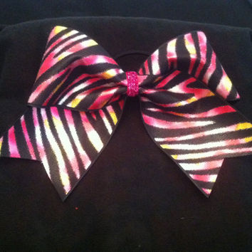"3"", 3 inch cheer cheerleader bow-BLING hot pink zebra tye die on black ribbon"