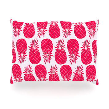 "Anchobee ""Pinya Neon Pink"" Magenta Pattern Oblong Pillow"