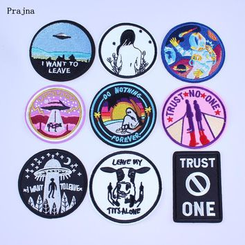 Prajna Trust No One Patch Do Nothing Forever Embroidery Cheap Patches Save Nature Unicorn Badges For Clothes DIY Applique