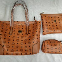 MCM Big Bag Fashion Women Three Suit Brown Bag